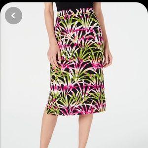 Kasper Tropical Leaves Print Skirt NWT